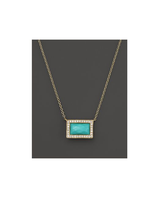 Ippolita | Blue Rock Candy 18k Gold Medium Baguette Sliding Pendant Necklace In Turquoise With Diamonds, 16"