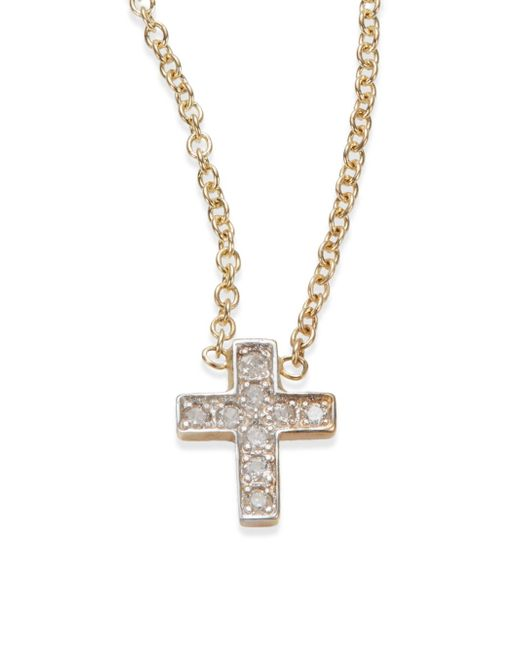 Kacey K | Metallic Diamond & 14k Gold Cross Necklace | Lyst