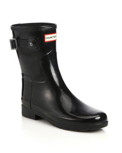 Hunter Refined Short Gloss Rain Boots In Black  Lyst