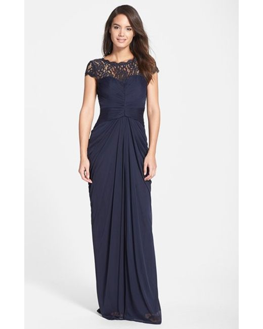 Adrianna Papell | Blue Lace Yoke Drape Gown | Lyst