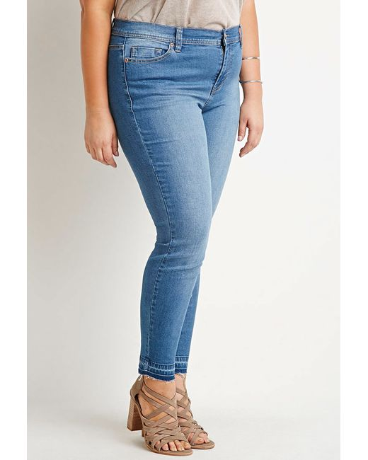 Forever 21   Blue Plus Size Frayed Skinny Jeans   Lyst