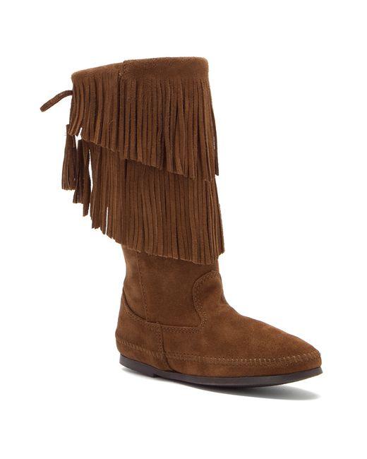 minnetonka calf hi 2 layer fringe boot in brown dusty