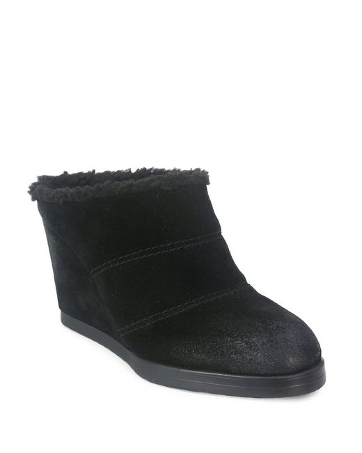 Tahari | Black Spencer Suede Sherpa-trimmed Ankle Boots | Lyst