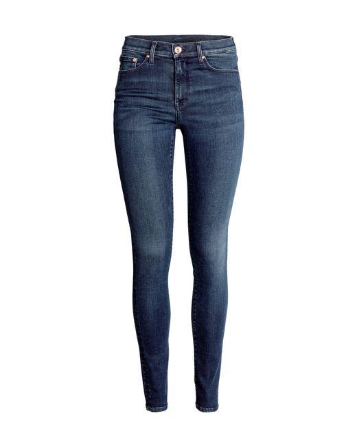 h m shaping skinny regular jeans in blue dark denim blue save 30 lyst. Black Bedroom Furniture Sets. Home Design Ideas