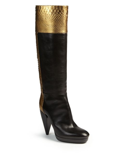 lanvin metallic python leather knee high boots in gold