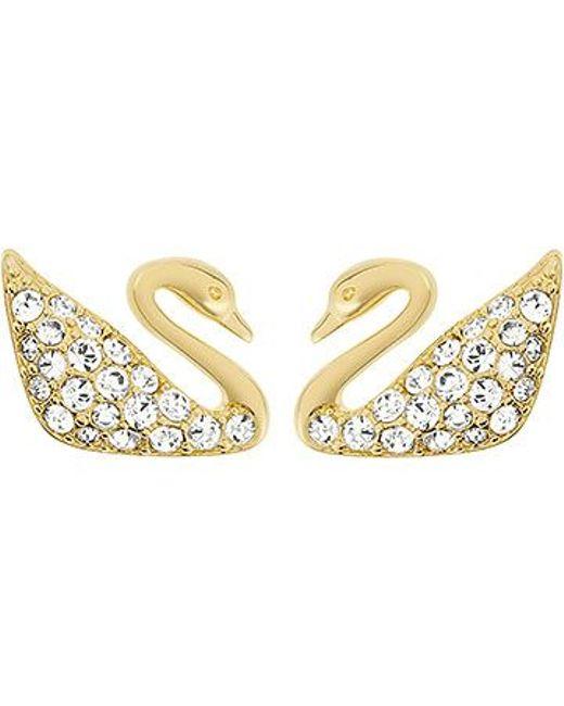 Swarovski | Metallic Swan Mini Pierced Earrings | Lyst