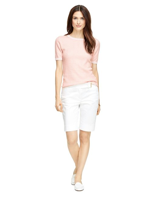 Brooks Brothers | Pink Silk And Cotton Jacquard Short-sleeve Shell | Lyst