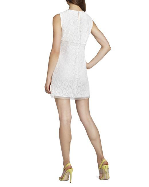 Bcbgmaxazria Stelah Draped Sheath Dress: Bcbgmaxazria Amelie Draped Sleeveless Lace Dress In White