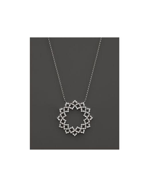 "KC Designs | Diamond Lattice Circle Pendant Necklace In 14k White Gold, 16"" | Lyst"