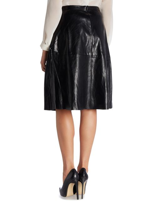 vince camuto midi pleather a line skirt in black save 77