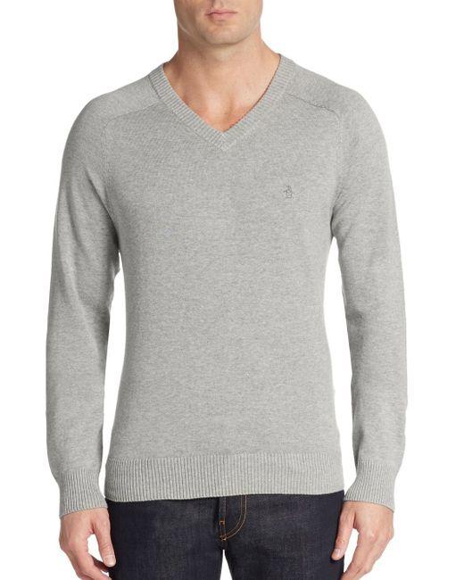 Original Penguin   Gray V-neck Sweater for Men   Lyst