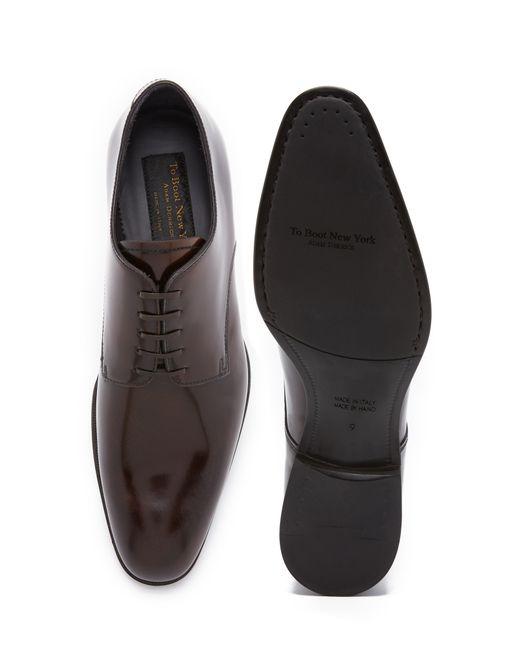 To Boot | Brown Buchanan High Shine Plain Toe Derbies for Men | Lyst
