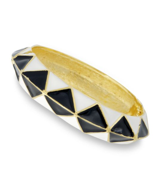 Kenneth Jay Lane | White And Black Bangle | Lyst