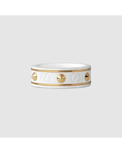 Gucci | Icon Ring With Studs In Yellow Gold | Lyst