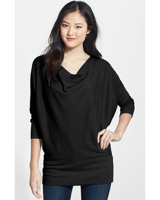 Lamade | Black 'aidan' Drape Neck Thermal Top | Lyst