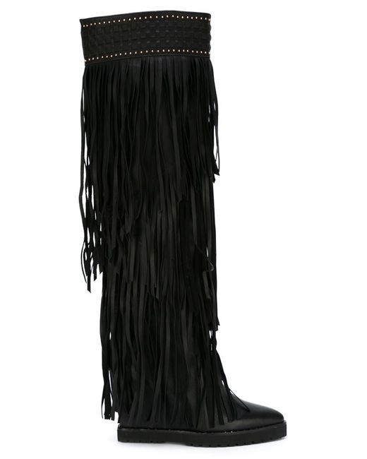 kirzhner fringed knee high boots in black lyst