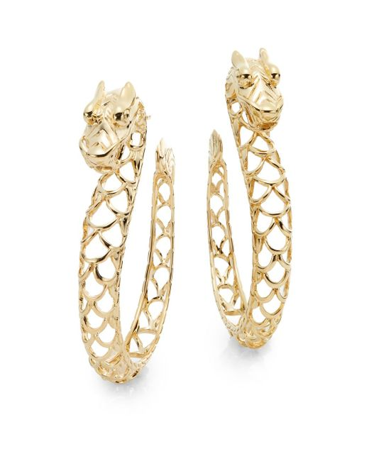 John Hardy | Metallic Naga 18k Yellow Gold Dragon Hoop Earrings/1.25"
