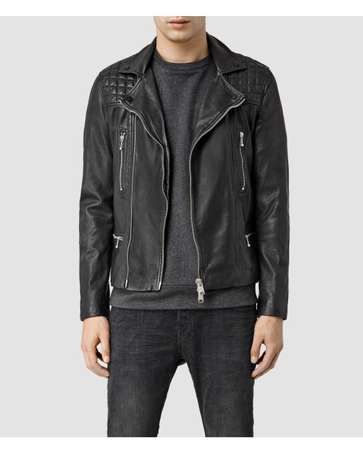 AllSaints | Black Rowley Leather Biker Jacket Usa Usa for Men | Lyst