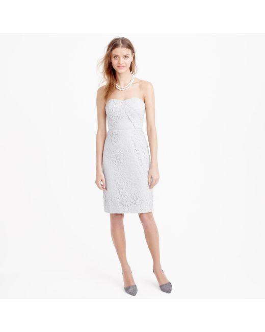 J.Crew | Gray Kelsey Strapless Dress In Leavers Lace | Lyst