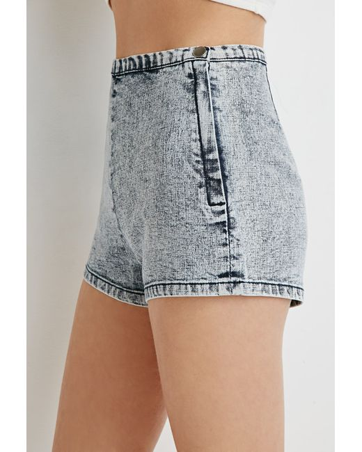 Forever 21 | Blue Acid Wash Flat-front Shorts You've Been Added To The Waitlist | Lyst