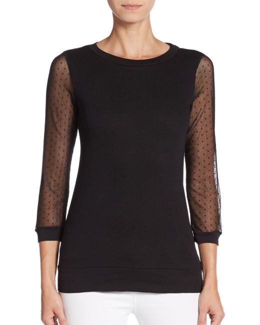 French Connection   Black Dotty Ditto Sheer-sleeve Top   Lyst