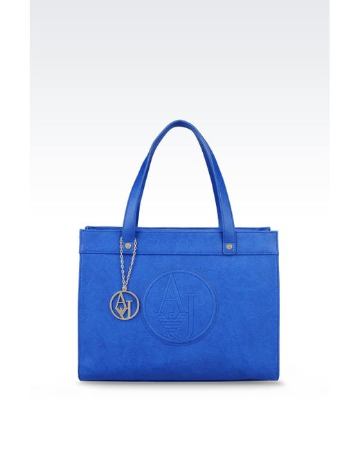 Armani Jeans   Blue Shopping Bag In Faux Leather With Charm   Lyst