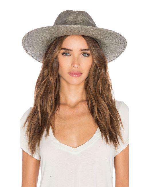 Janessa Leone Angelica Wide Brimmed Panama Hat In Silver