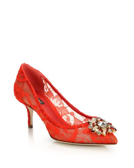Dolce & Gabbana | Red Embellished Lace Point-toe Pumps | Lyst