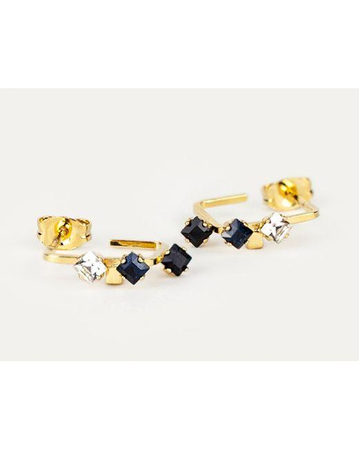 Sabrina Dehoff   Metallic Creole Earrings With Crystals   Lyst