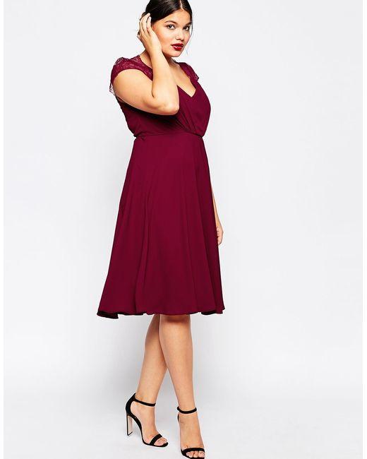 Asos Curve Kate Lace Midi Dress In Purple (Burgandy)