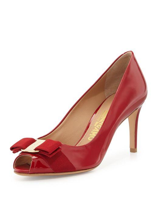 Ferragamo   Red Pola Patent Peep-toe Bow Pump   Lyst