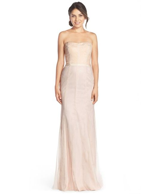 Monique Lhuillier Bridesmaids | Pink Strapless Lace & Tulle Gown | Lyst
