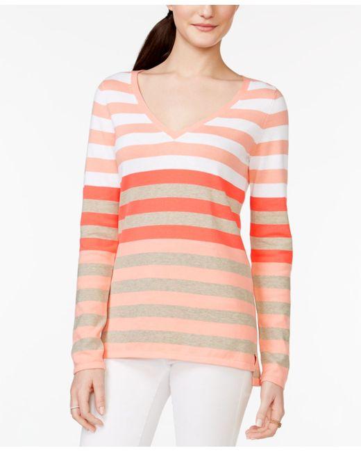 tommy hilfiger gracie striped v neck sweater in red peach. Black Bedroom Furniture Sets. Home Design Ideas