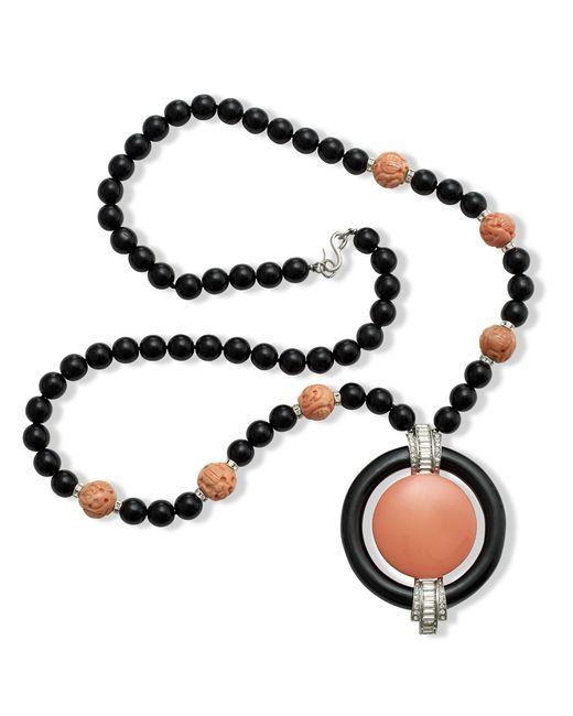 Kenneth Jay Lane | Pink Coral Art Deo Pendant Necklace | Lyst
