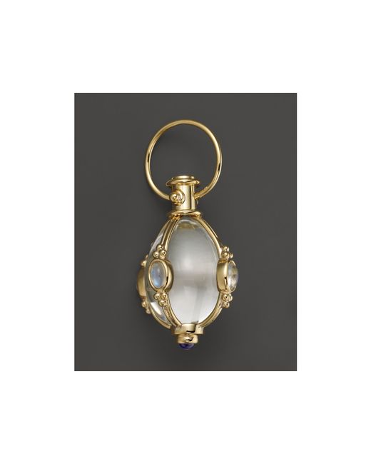 Temple St. Clair | 18k Yellow Gold Classic Cabochon Amulet With Oval Rock Crystal, Royal Blue Moonstone And Tanzanite | Lyst