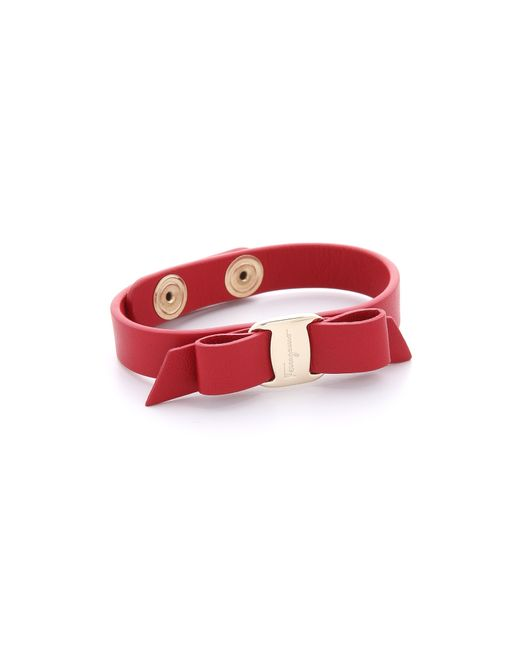 Ferragamo   Red Vara Bow Single Wrap Bracelet   Lyst