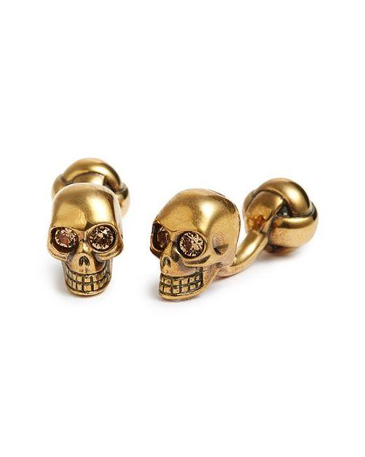 Alexander McQueen   Gold Skull Cuff Links for Men   Lyst