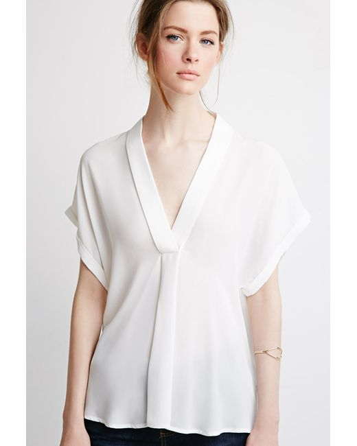 Forever 21   White Contemporary V-neck Shawl Collar Blouse   Lyst
