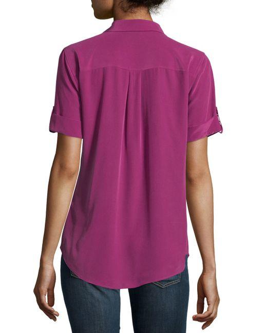 Equipment Slim Signature Short Sleeve Silk Blouse In