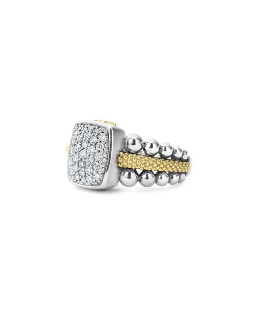 Lagos | Metallic Sterling Silver And 18k Gold Caviar Ring With Diamonds | Lyst
