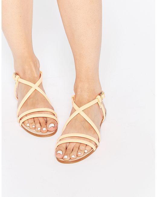 Miista Jo Nude Strappy Leather Flat Sandals In Multicolor -4283