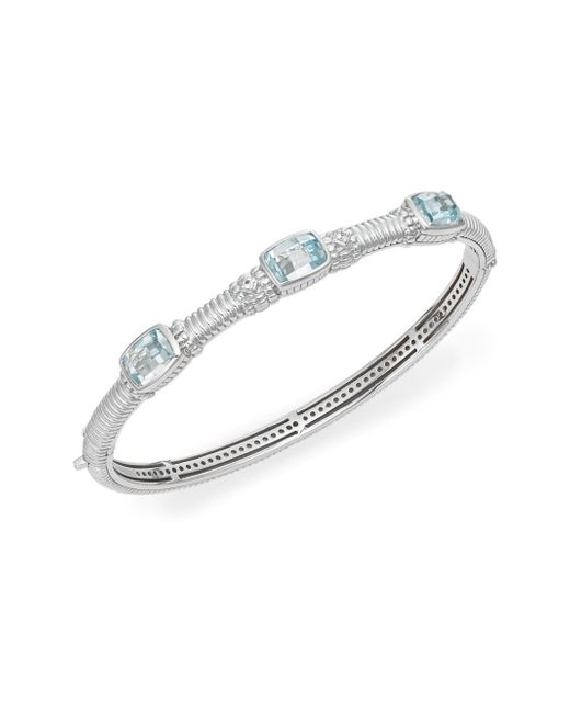 Judith Ripka   Metallic Estate Sky Blue Stone, White Sapphire & Sterling Silver Bangle Bracelet   Lyst