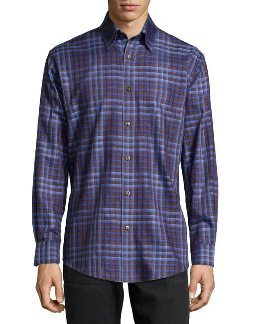 Neiman Marcus No Iron Plaid Sport Shirt In Blue For Men