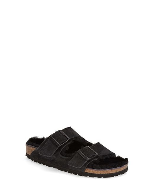 Birkenstock | Black 'arizona' Genuine Shearling Lined Sandal | Lyst