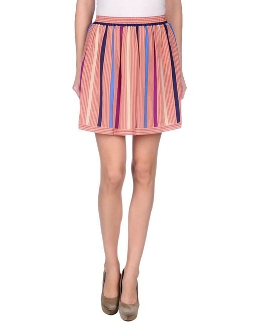 See by chlo 233 mini skirt in pink pastel pink save 61 lyst