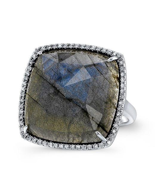 Anne Sisteron - Metallic 14kt White Gold Labradorite Diamond Cushion Cut Cocktail Ring - Lyst