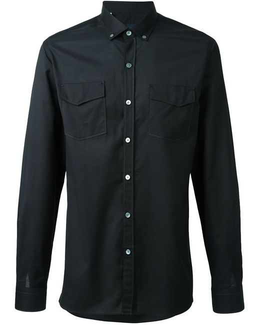 lanvin button down collar shirt in black for men save 55