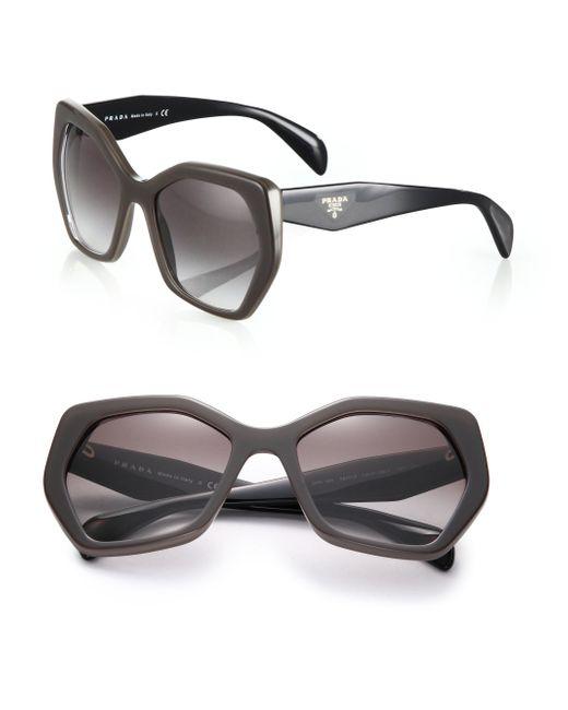 Prada | Brown Angular 56mm Pentagonal Sunglasses | Lyst