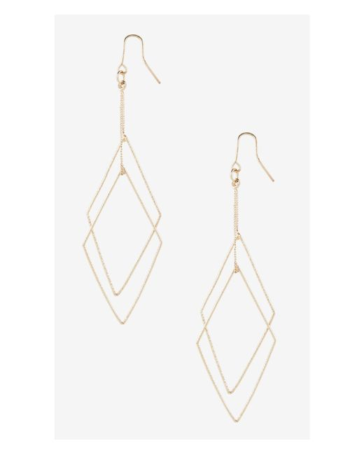 Express | Metallic Textured Double Diamond Dangle Earrings | Lyst