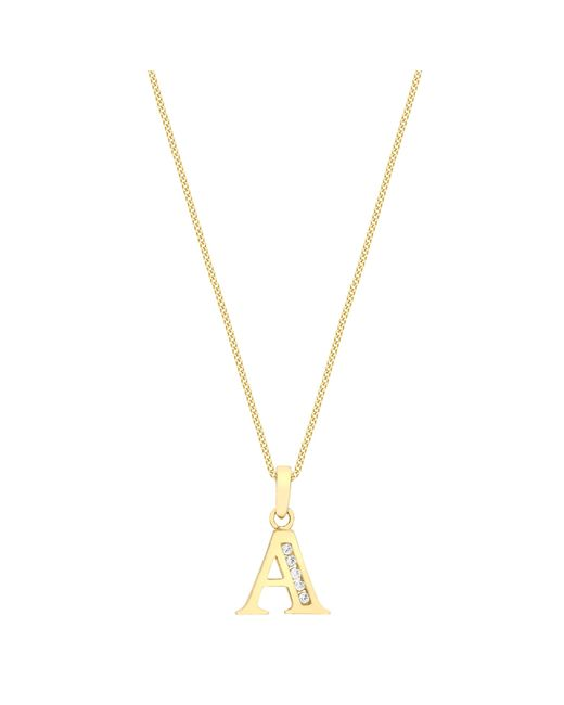 Ib&b | Metallic 9ct Gold Cubic Zirconia Initial Pendant Necklace | Lyst